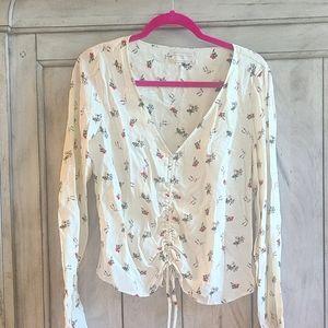 Urban Outfitters Cream n floral silk top